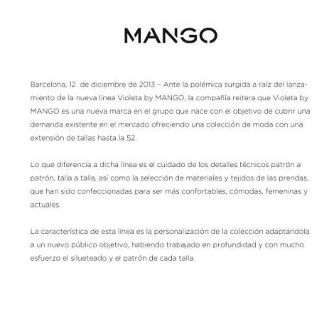 comunicado de mango