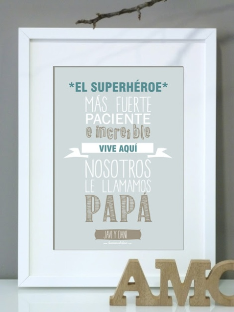 regalo día del padre lámina personalizada azul marco IKEA