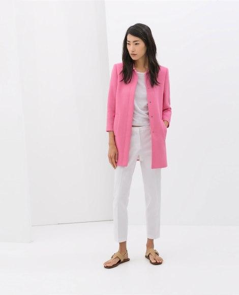 zara abrigo rosa