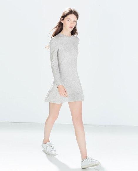 zara vestido gris